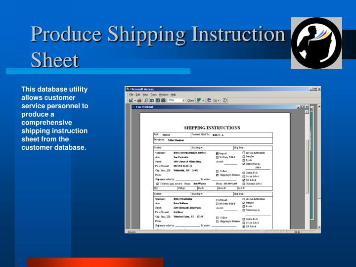 Produce Shipping Instruction Sheet
