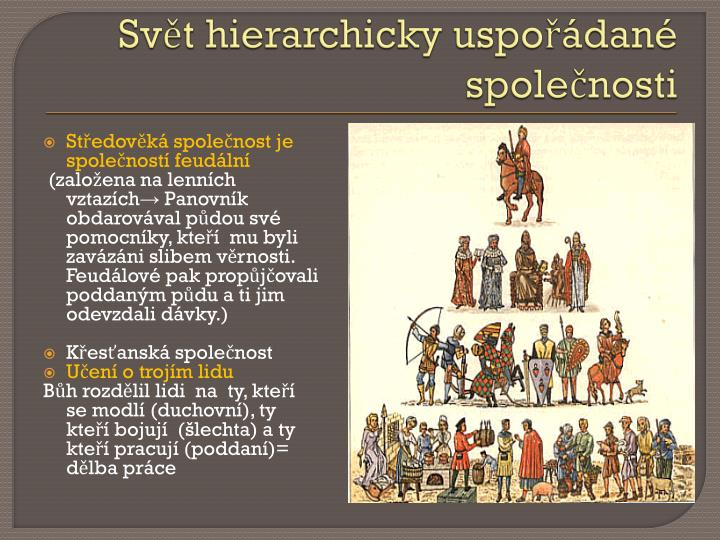 Svět hierarchicky uspořádané společnosti