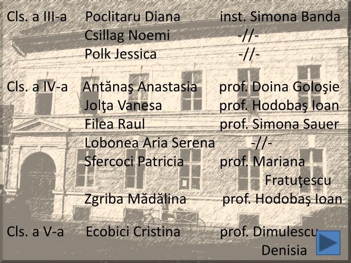 Cls. a III-a     Poclitaru Diana           inst. Simona Banda