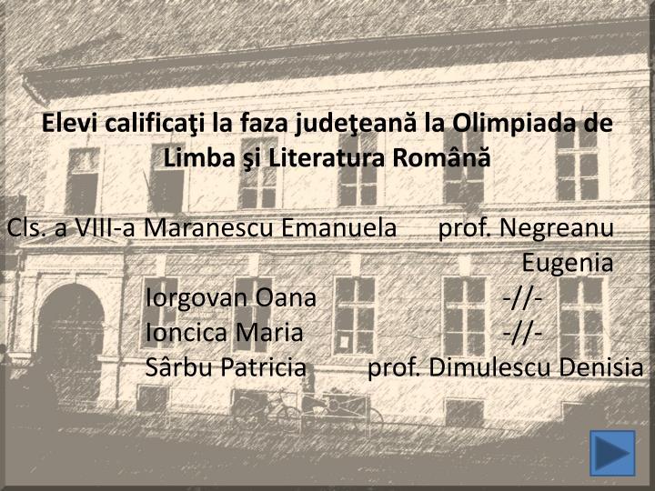 Elevi calificaţi la faza judeţeană la Olimpiada de Limba şi Literatura Română