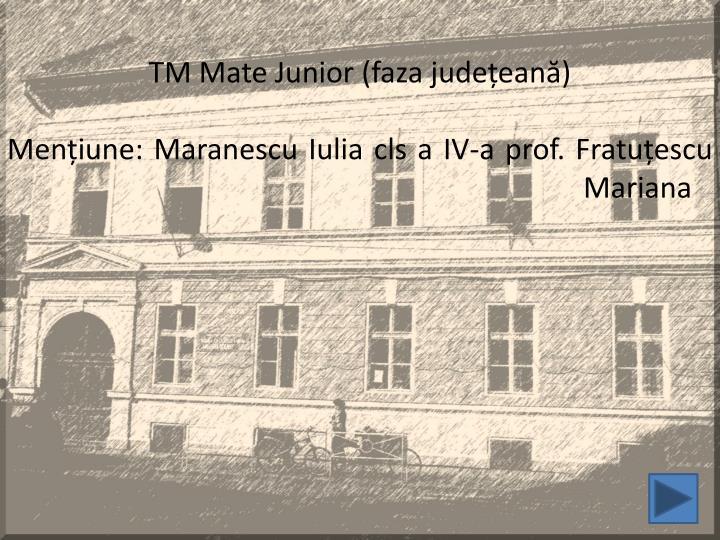 TM Mate Junior (faza județeană)