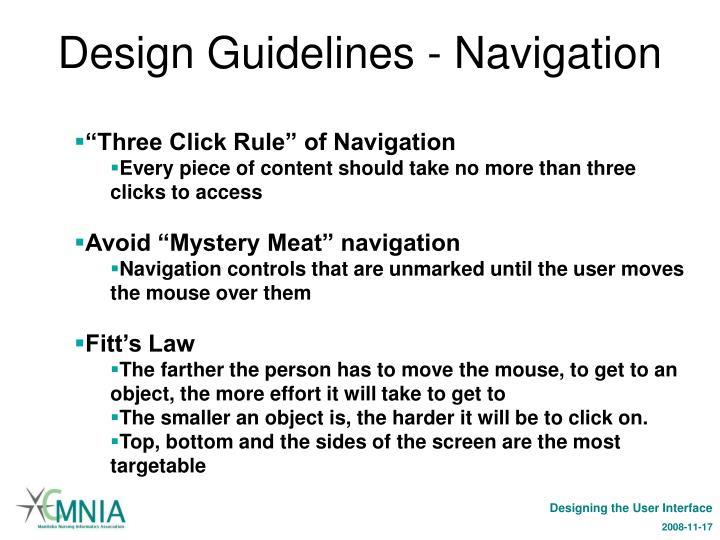Design Guidelines - Navigation