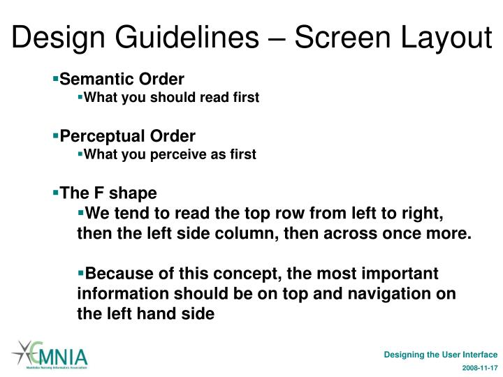 Design Guidelines – Screen Layout