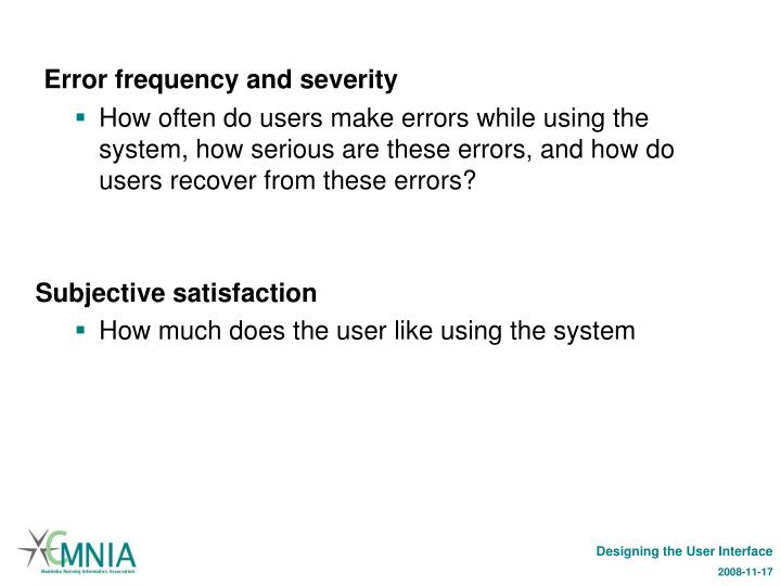 Error frequency and severity