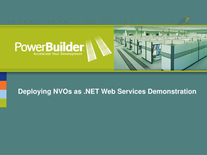 Deploying NVOs as .NET Web Services Demonstration