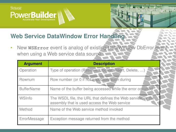 Web Service DataWindow Error Handling