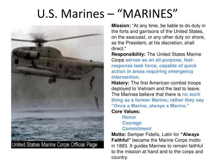 """U.S. Marines – """"MARINES"""""""