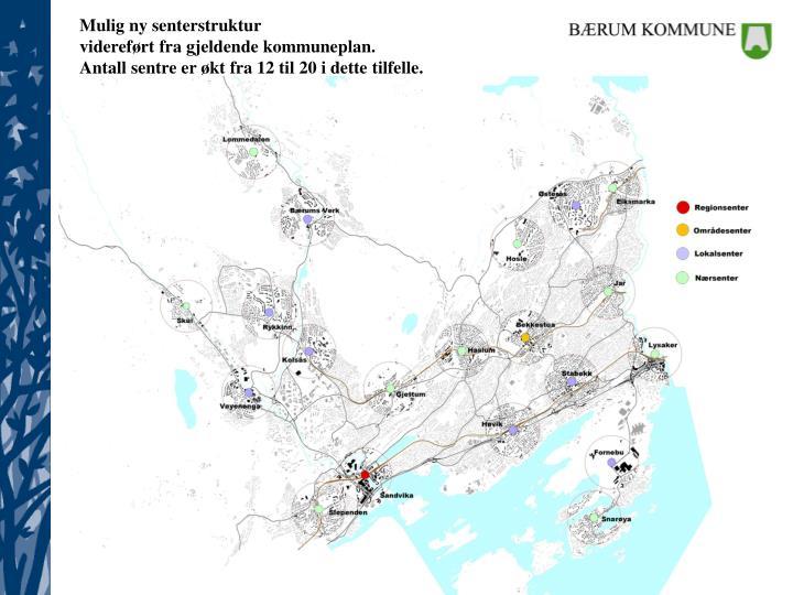 Mulig ny senterstruktur                                                    videreført fra gjeldende kommuneplan.                                Antall sentre er økt fra 12 til 20 i dette tilfelle.