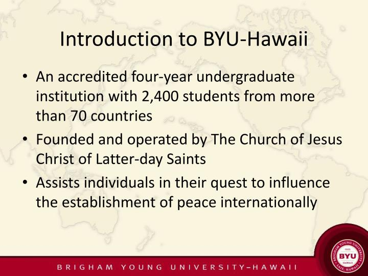Introduction to byu hawaii