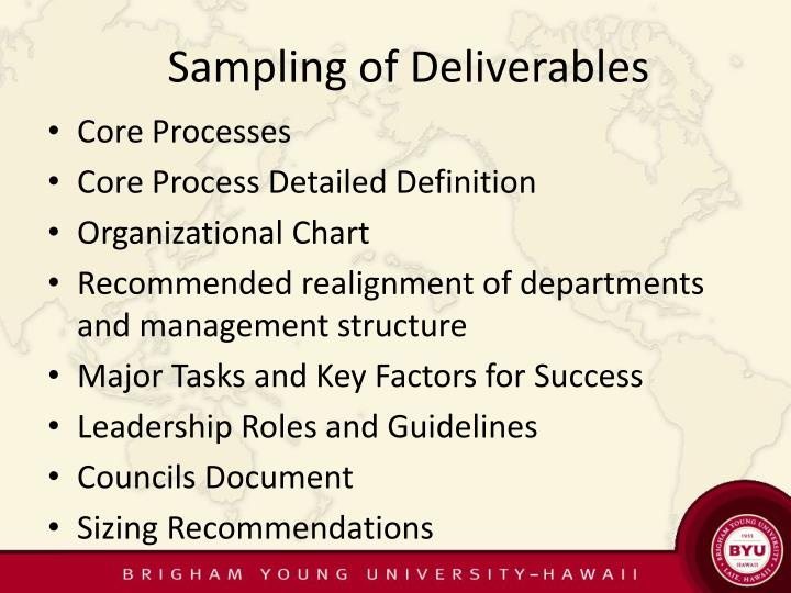 Sampling of Deliverables