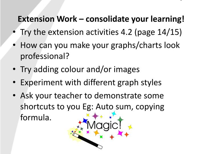Extension Work – consolidate your learning!