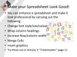 make your spreadsheet look good