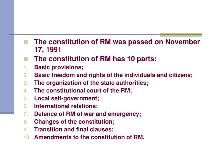 The constitution of RM was passed on November 17, 1991
