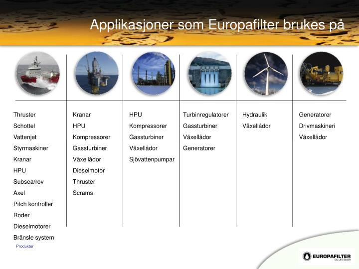 Applikasjoner som Europafilter brukes på