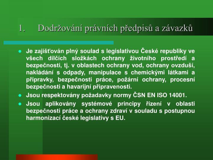 Dodržování právních předpisů a závazků