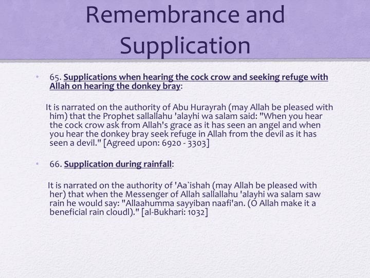 Remembrance and Supplication