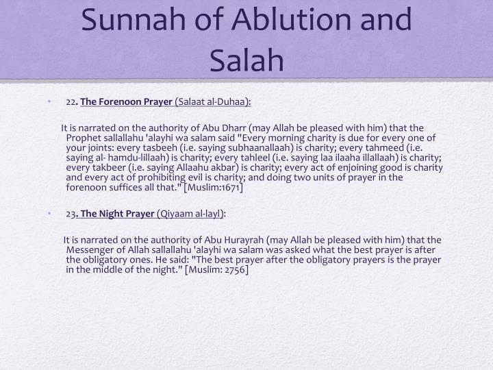 Sunnah of Ablution and Salah
