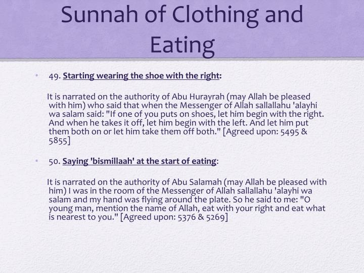 Sunnah of Clothing and Eating