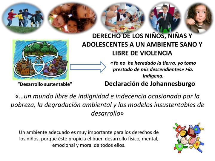 DERECHO DE LOS NIÑOS, NIÑAS Y ADOLESCENTES A UN AMBIENTE SANO Y LIBRE DE VIOLENCIA