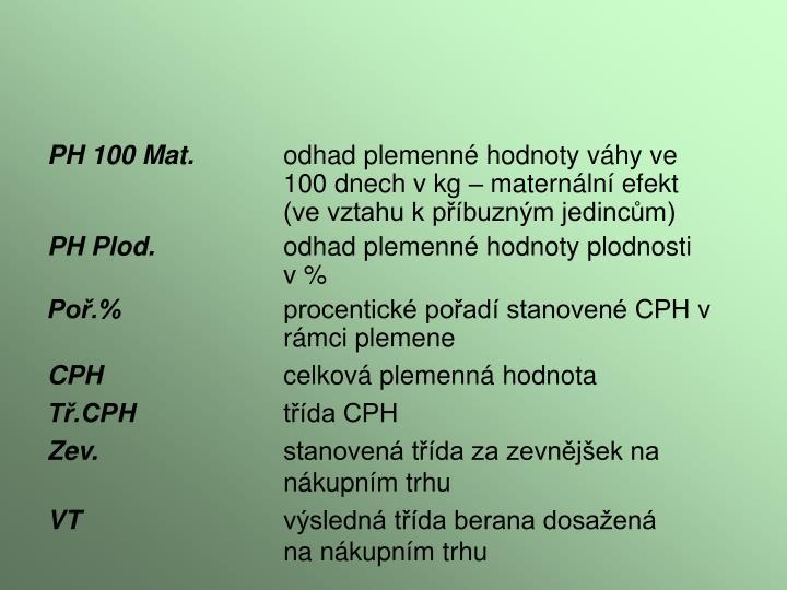 PH 100 Mat.
