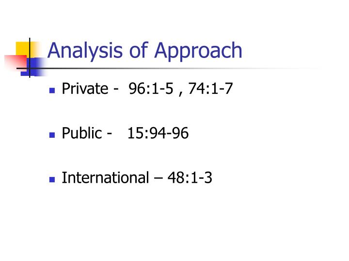 Analysis of Approach