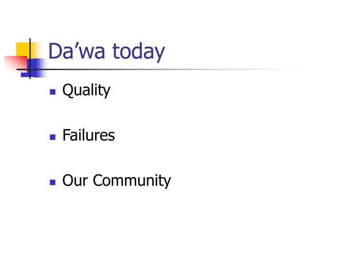 Da'wa today