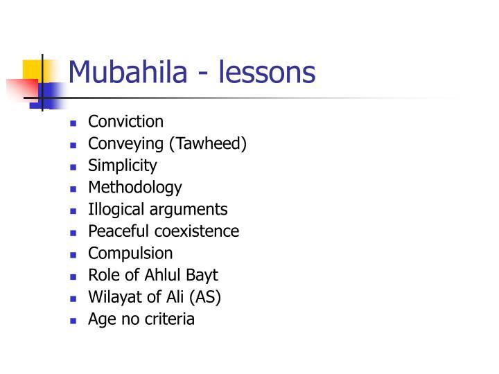 Mubahila - lessons
