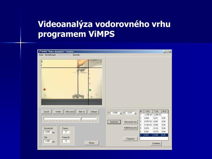 Videoanalýza vodorovného vrhu programem ViMPS
