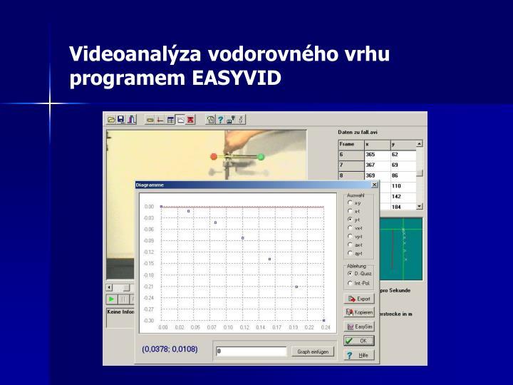 Videoanalýza vodorovného vrhu programem EASYVID