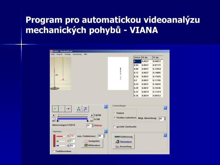 Program pro automatickou videoanalýzu mechanických pohybů - VIANA