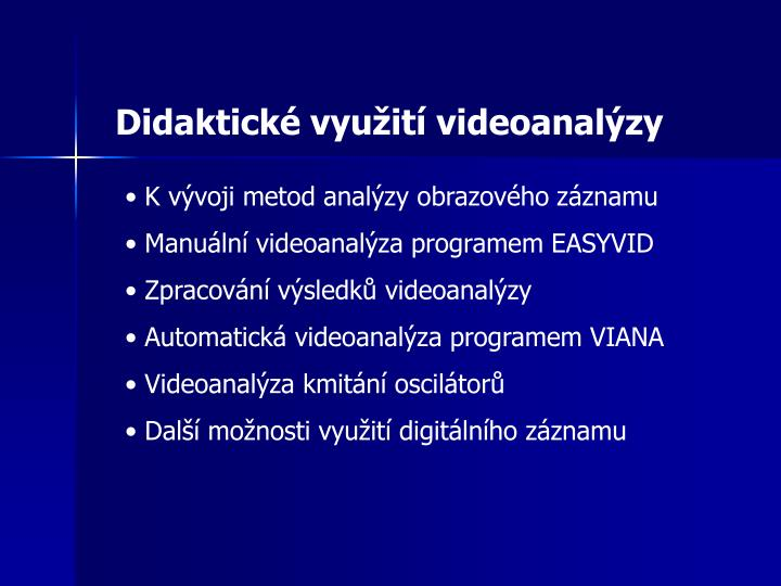 Didaktické využití videoanalýzy