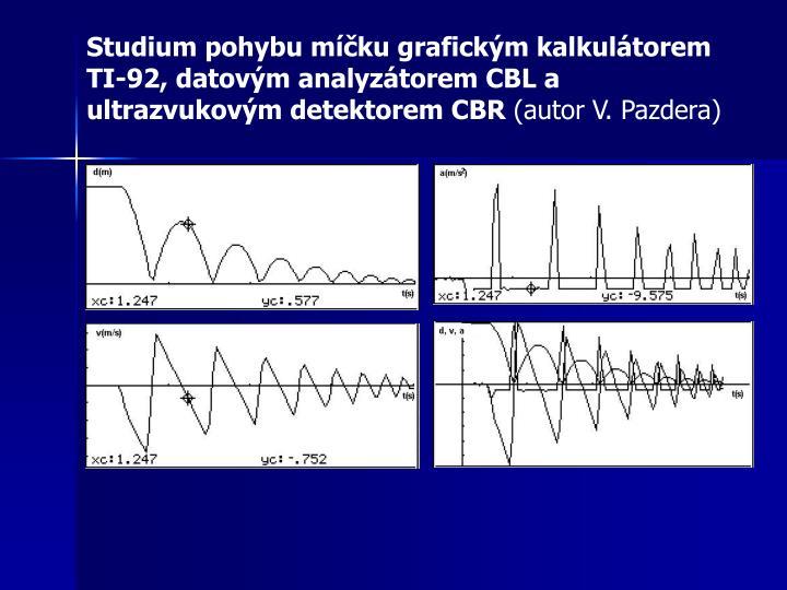 Studium pohybu míčku grafickým kalkulátorem TI-92, datovým analyzátorem CBL a ultrazvukovým detektorem CBR