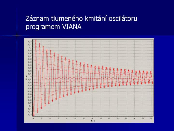 Záznam tlumeného kmitání oscilátoru programem VIANA