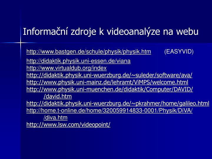 Informační zdroje k videoanalýze na webu