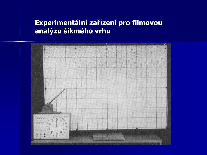 Experimentální zařízení pro filmovou analýzu šikmého vrhu