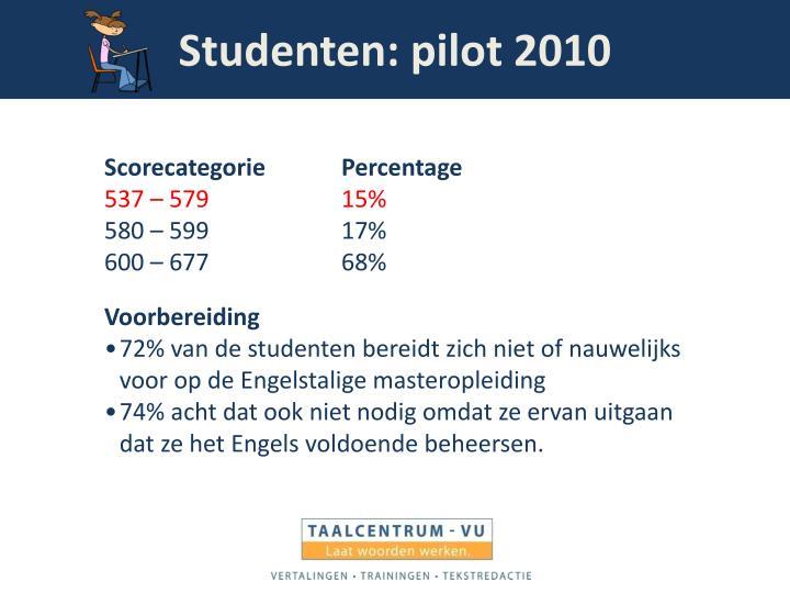 Studenten: pilot 2010