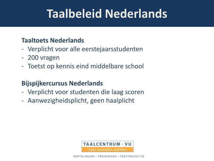 Taalbeleid Nederlands