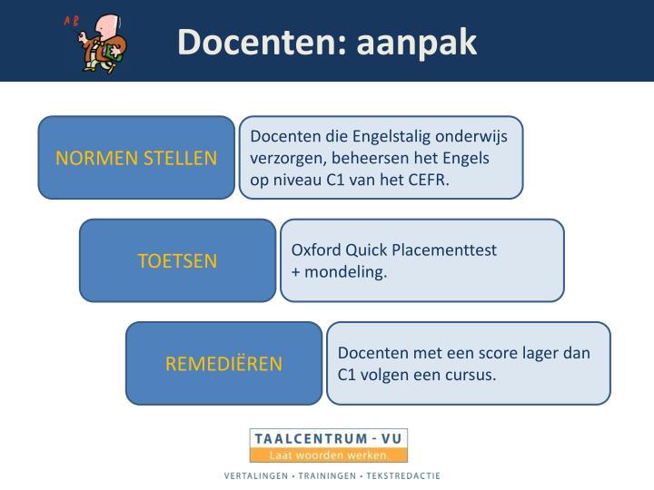 Docenten: aanpak