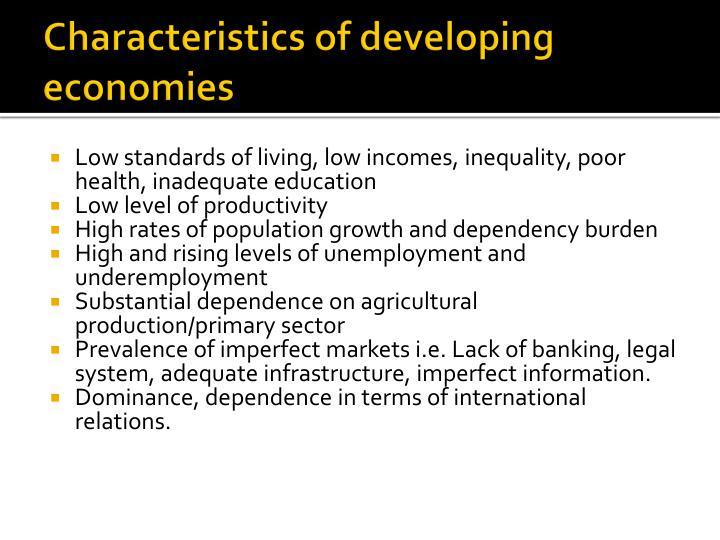 Characteristics of developing economies