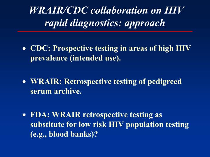 WRAIR/CDC collaboration on HIV