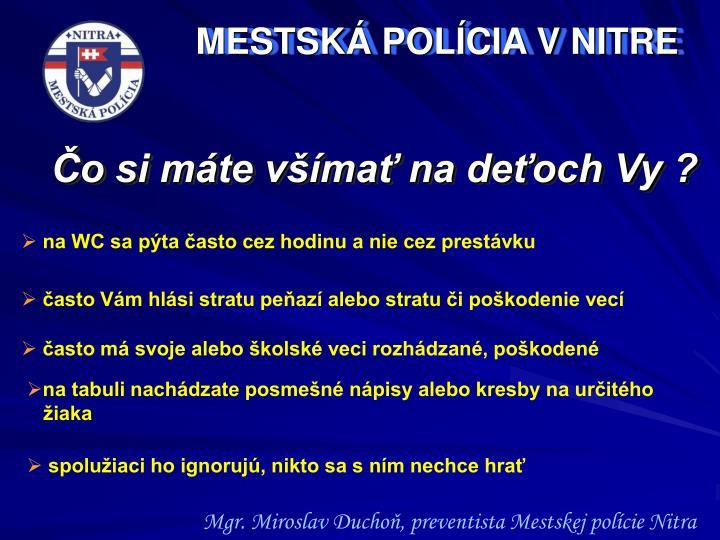 MESTSKÁ POLÍCIA V NITRE