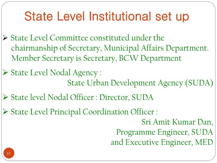State Level Institutional set up