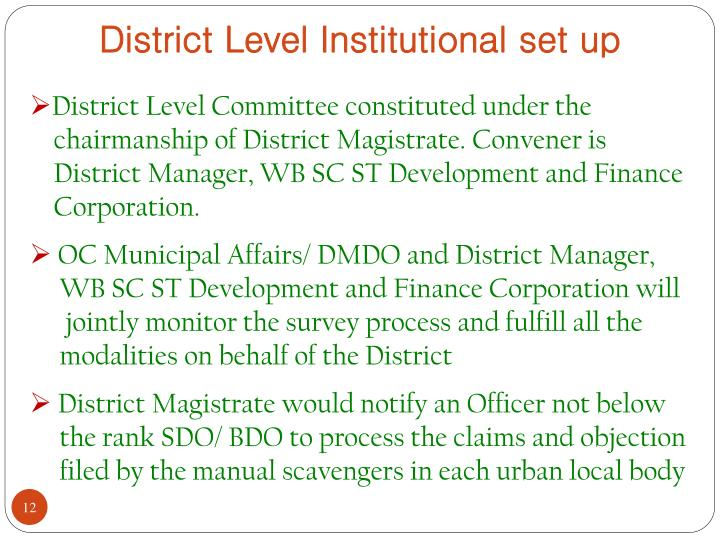 District Level Institutional set up