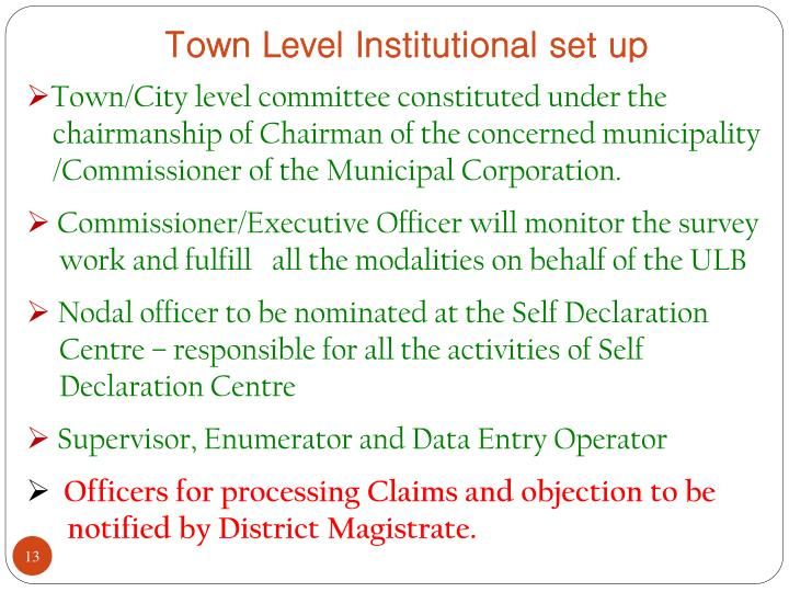 Town Level Institutional set up