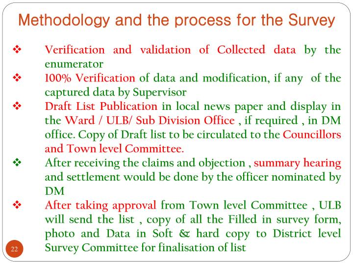 Methodology and the process for the Survey