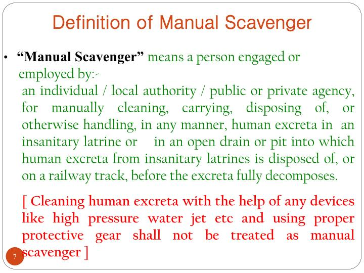 Definition of Manual Scavenger
