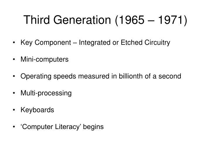 Third Generation (1965 – 1971)