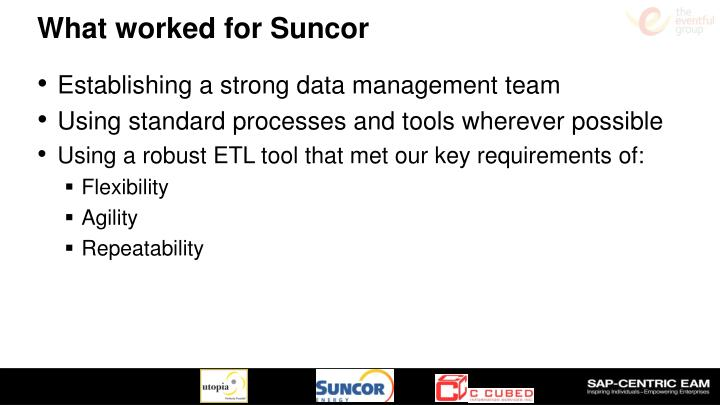 What worked for Suncor