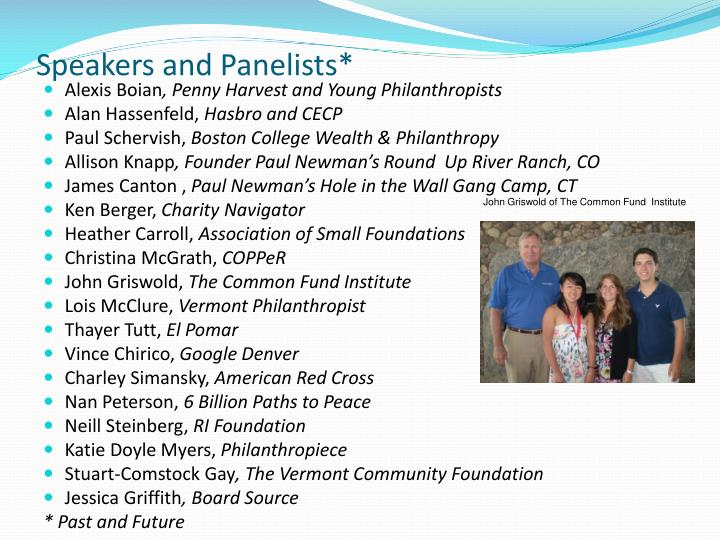 Speakers and Panelists*