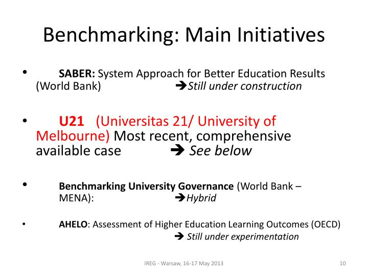 Benchmarking: Main Initiatives